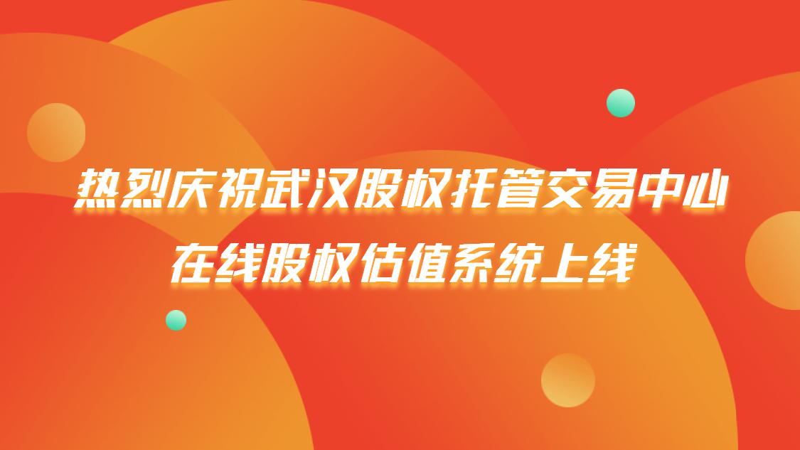 喜报 | 心流慧估在线股权估值系统正式上线武汉股权托管交易中心-心流